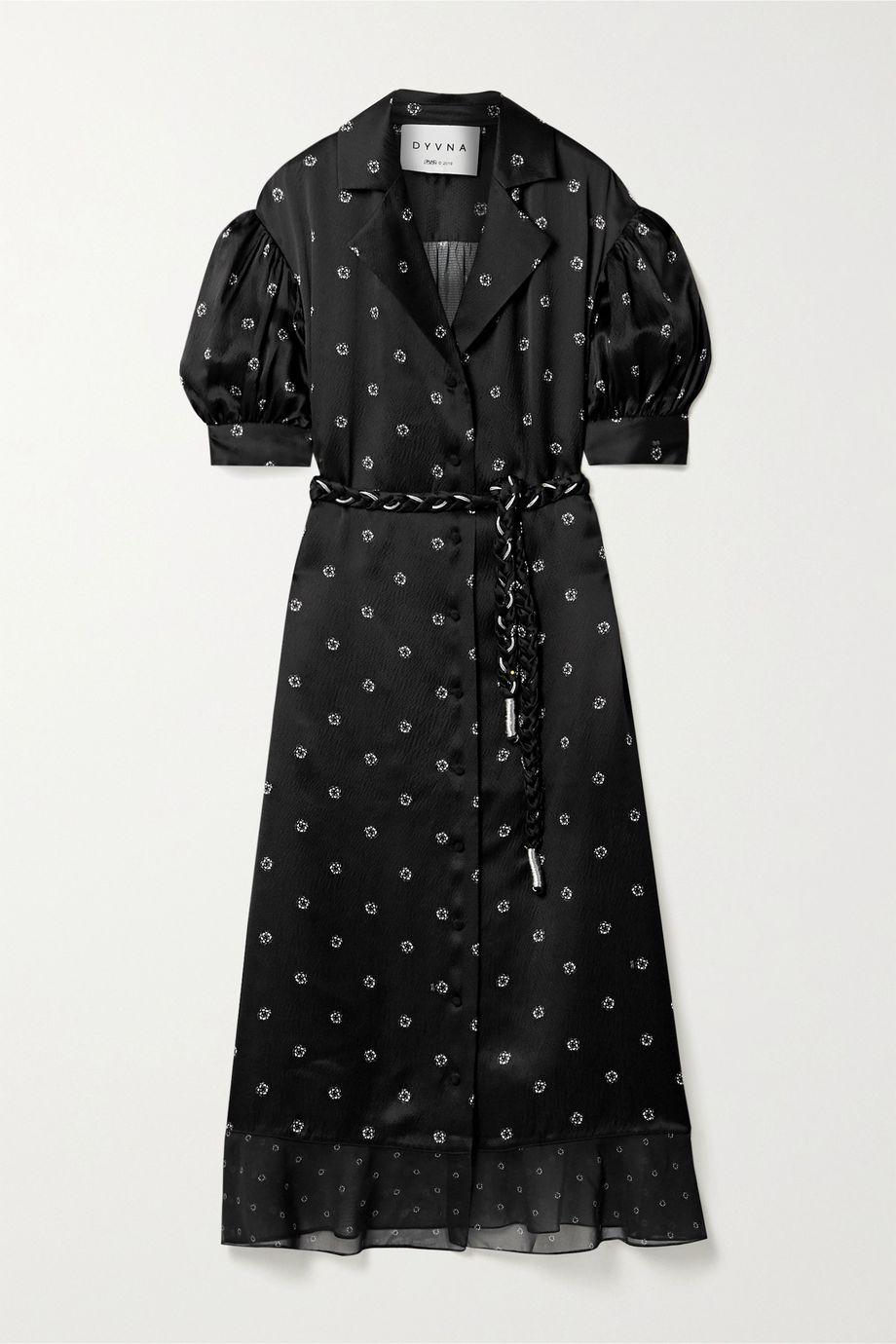 DYVNA Floral-print chiffon-trimmed hammered silk-satin midi dress