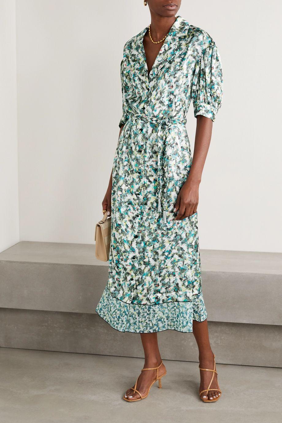 DYVNA Belted printed chiffon-trimmed hammered silk-satin midi dress
