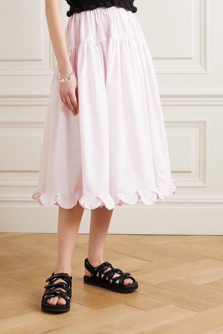 Kasumi tiered ruffled cotton-poplin midi skirt