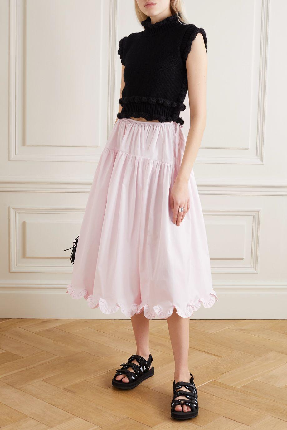 Cecilie Bahnsen Kasumi tiered ruffled cotton-poplin midi skirt