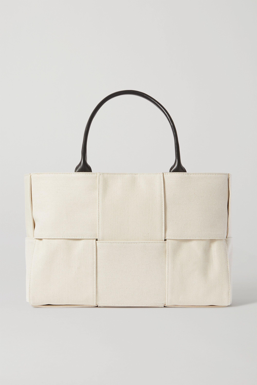 Bottega Veneta Cabas leather-trimmed intrecciato canvas tote