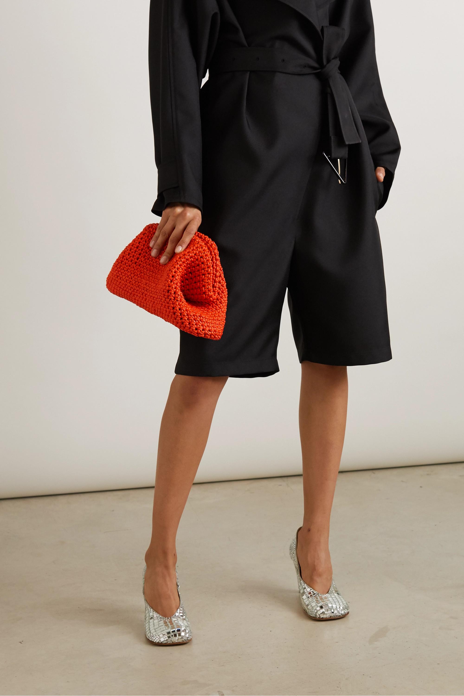 Bottega Veneta The Pouch große Clutch aus gehäkeltem Leder
