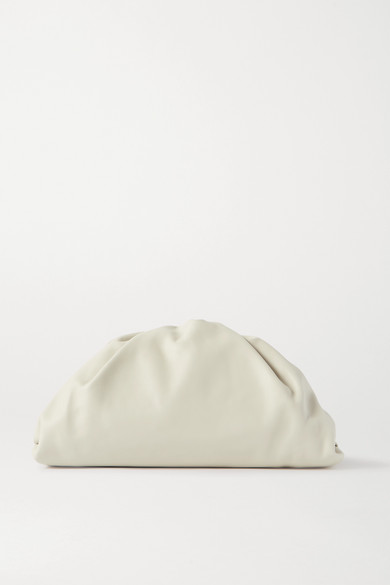Bottega Veneta - The Pouch Large Gathered Leather Clutch - Off-white