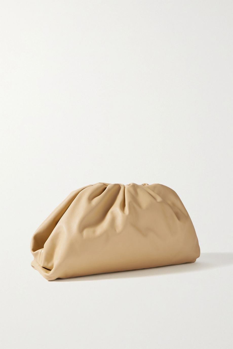 The Pouch large gathered leather clutch