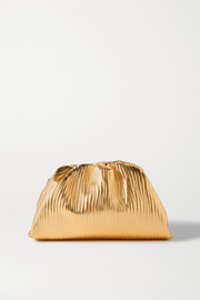 Bottega Veneta The Pouch small gathered metallic textured-leather clutch