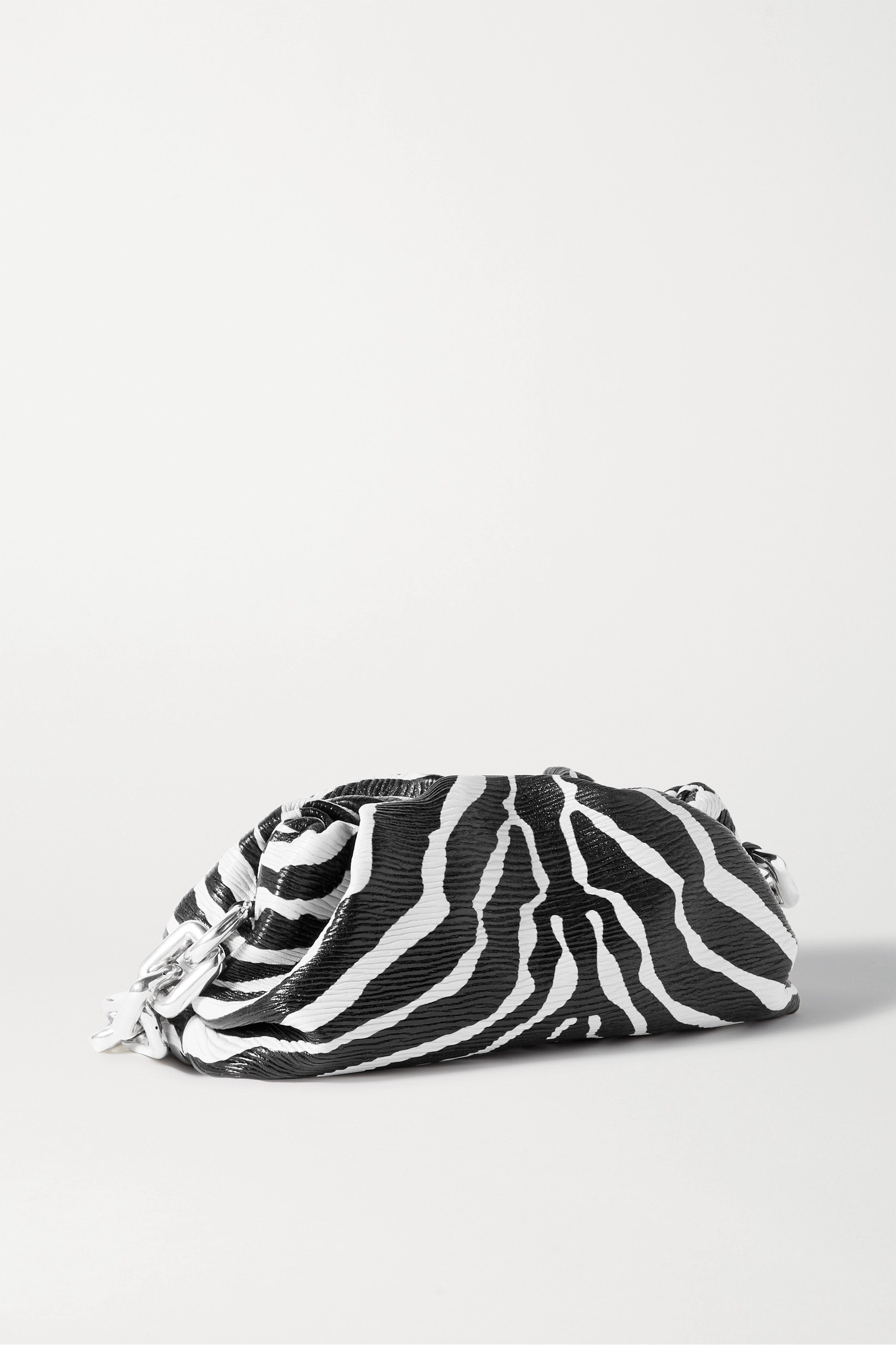 Bottega Veneta The Pouch chain-embellished gathered zebra-print textured-leather clutch