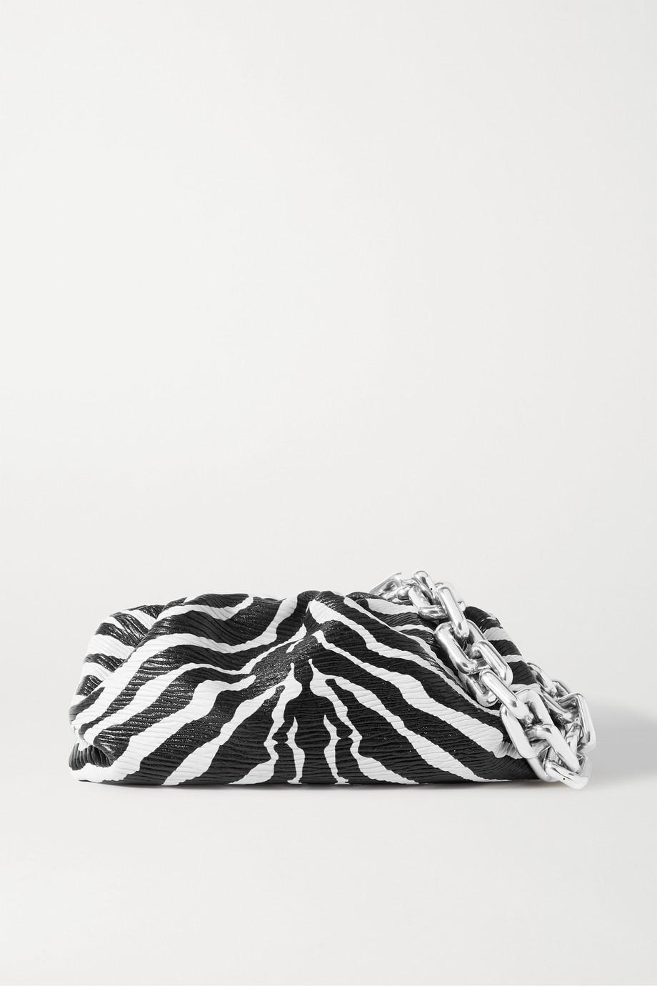 Bottega Veneta The Pouch chain-embellished gathered zebra-print textured-leather clutch
