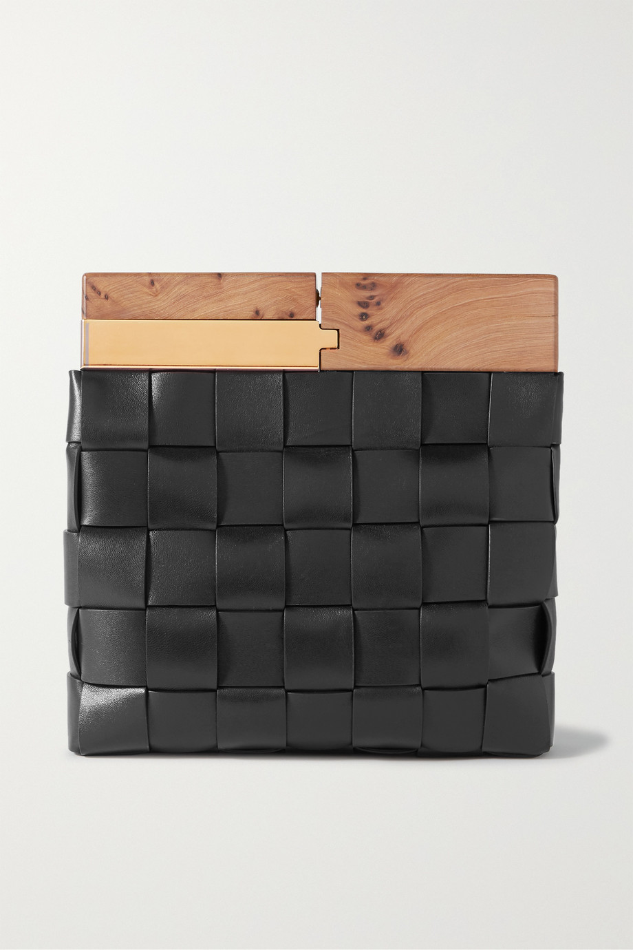 Bottega Veneta Wood Clutch aus Intrecciato-Leder
