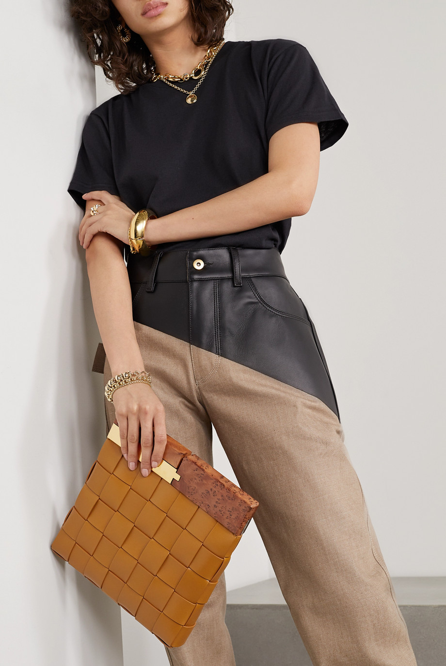 Bottega Veneta Wood and intrecciato leather clutch