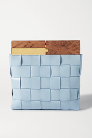 Bottega Veneta Wood intrecciato leather clutch