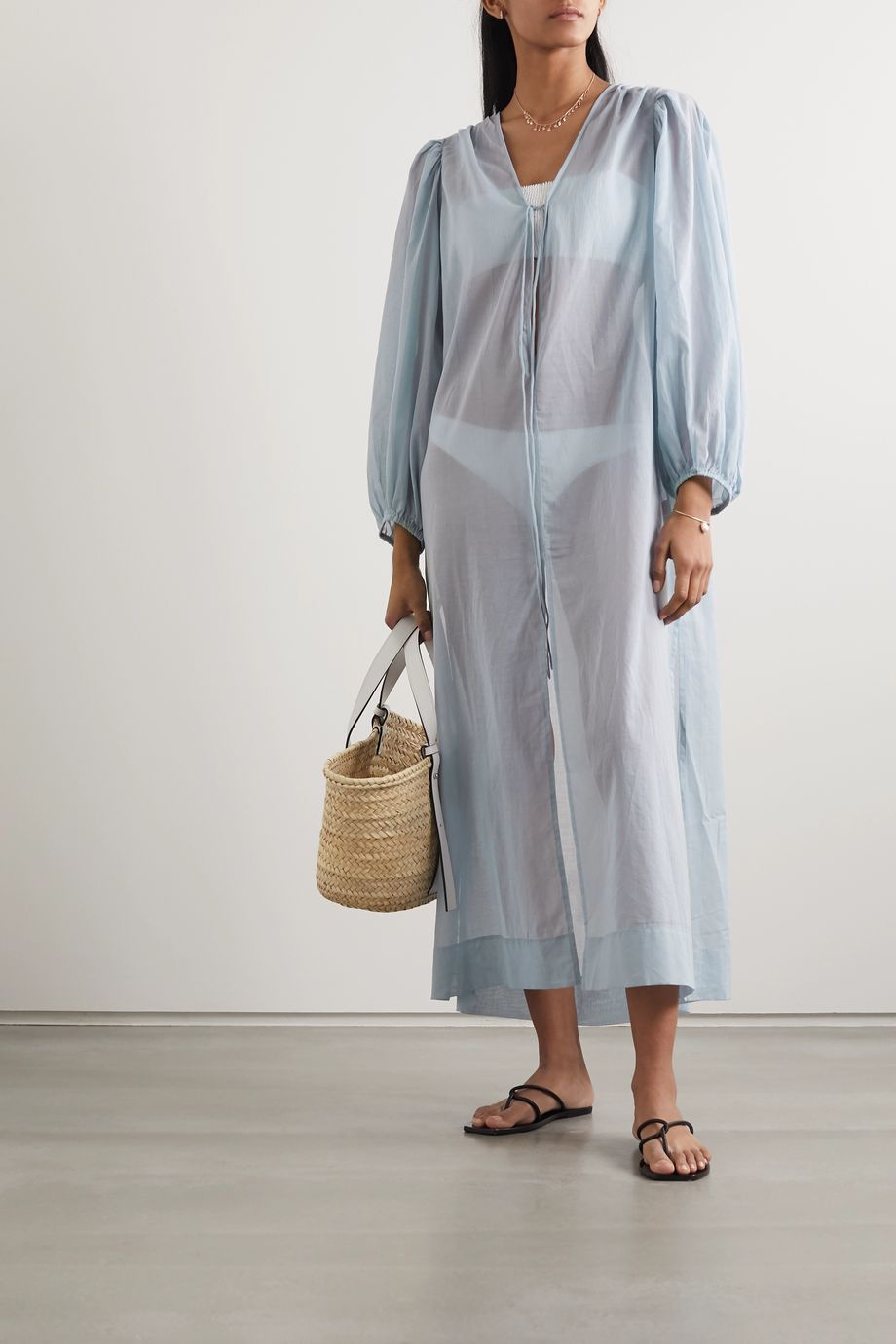 Cloe Cassandro + NET SUSTAIN Lea organic cotton-gauze midi dress
