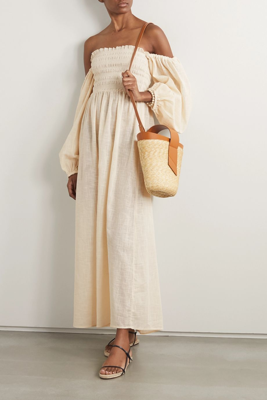 Cloe Cassandro + NET SUSTAIN Agatha shirred organic cotton-gauze midi dress