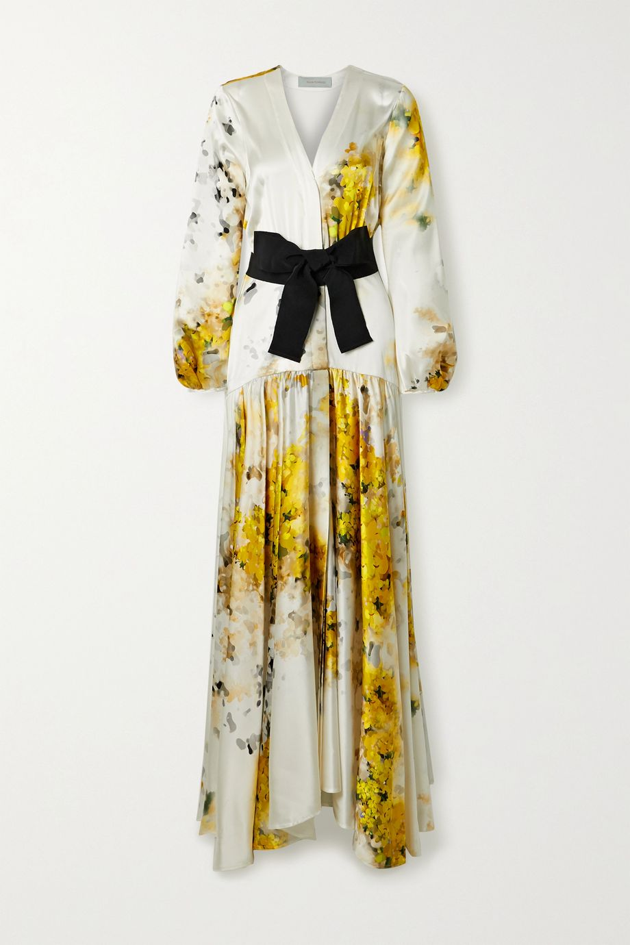 Silvia Tcherassi Felicity belted floral-print silk-blend satin gown