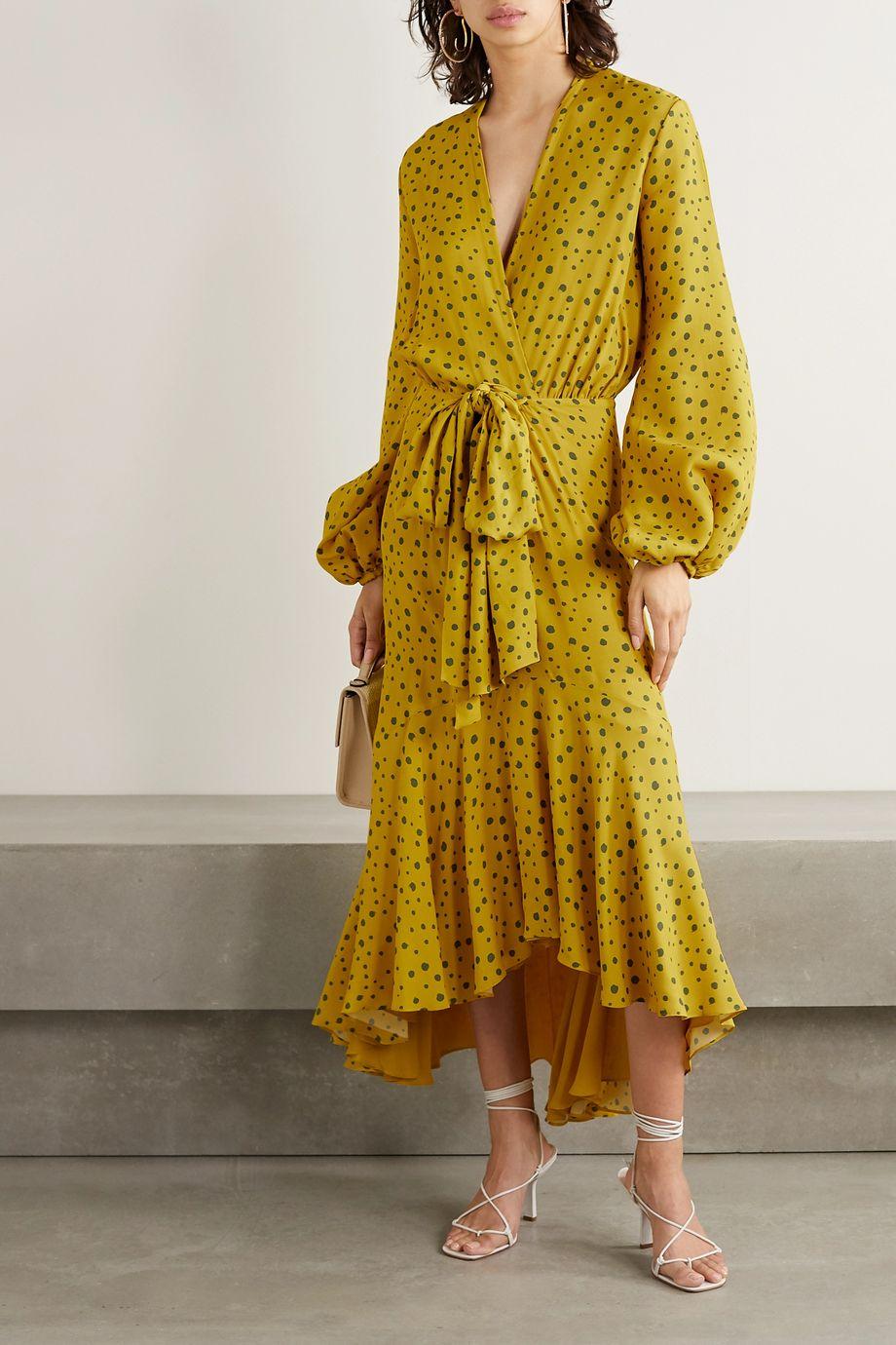 Silvia Tcherassi Giannini wrap-effect polka-dot crepe de chine midi dress