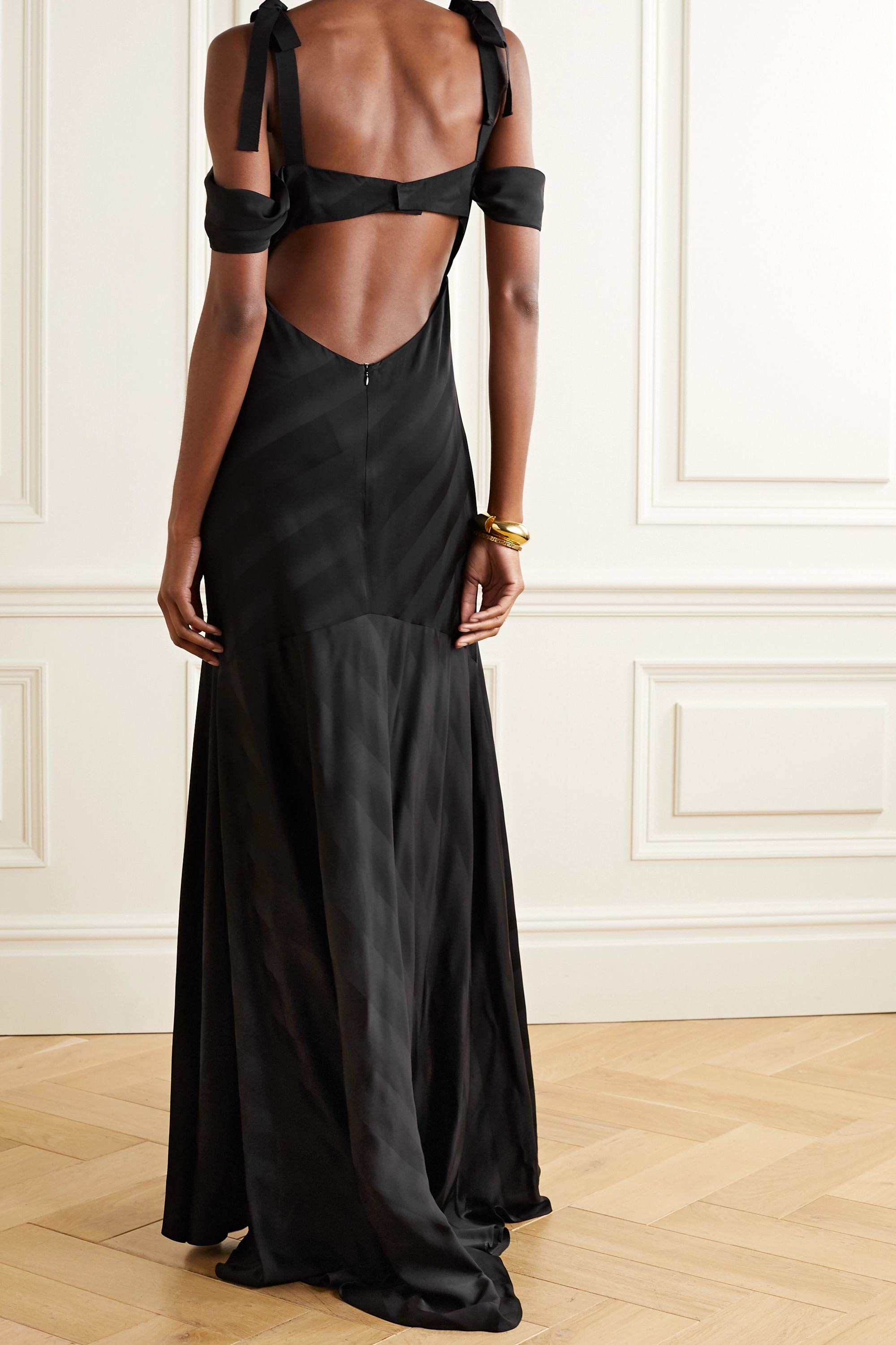 Silvia Tcherassi Sotavento cold-shoulder cutout printed satin gown