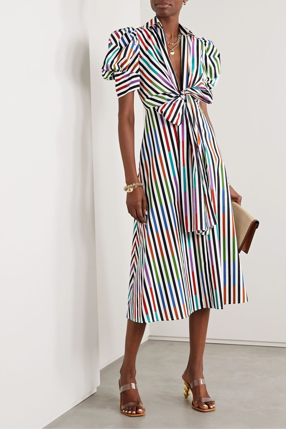 Silvia Tcherassi Roopal tie-front striped cotton-poplin midi shirt dress