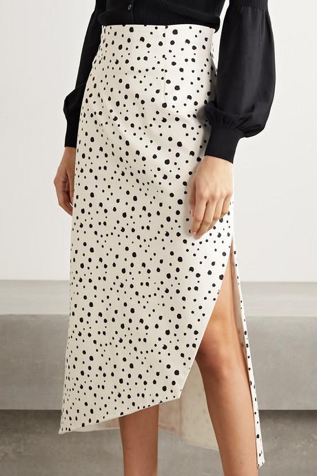 Gimme asymmetric polka-dot cotton-blend skirt