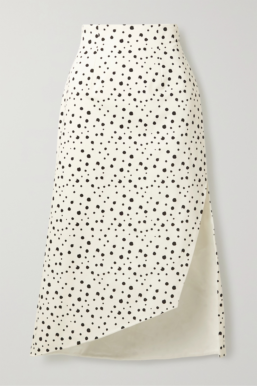 Silvia Tcherassi Gimme asymmetric polka-dot cotton-blend skirt