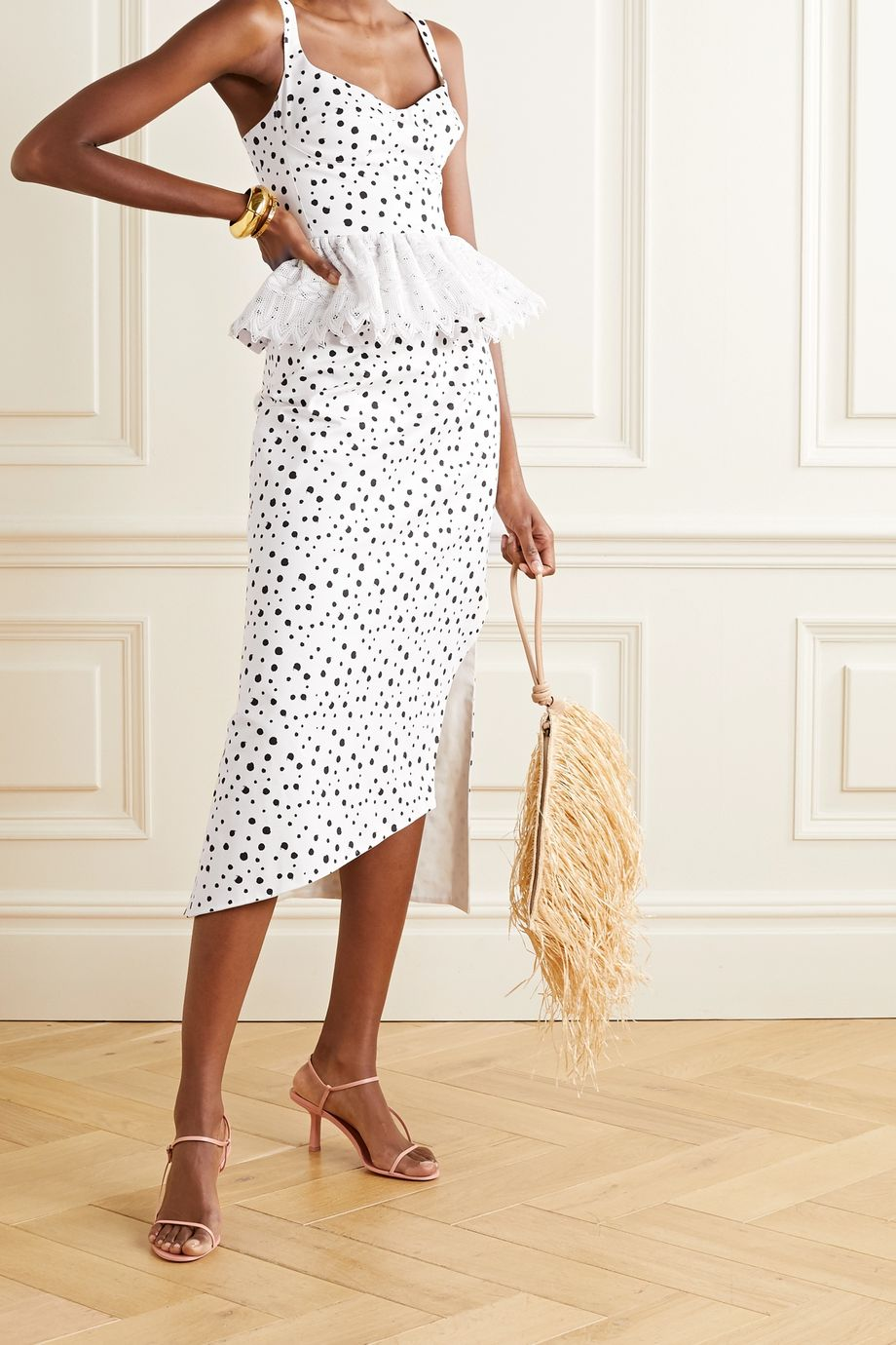 Silvia Tcherassi La Banquera crochet-trimmed polka-dot cotton-blend peplum top