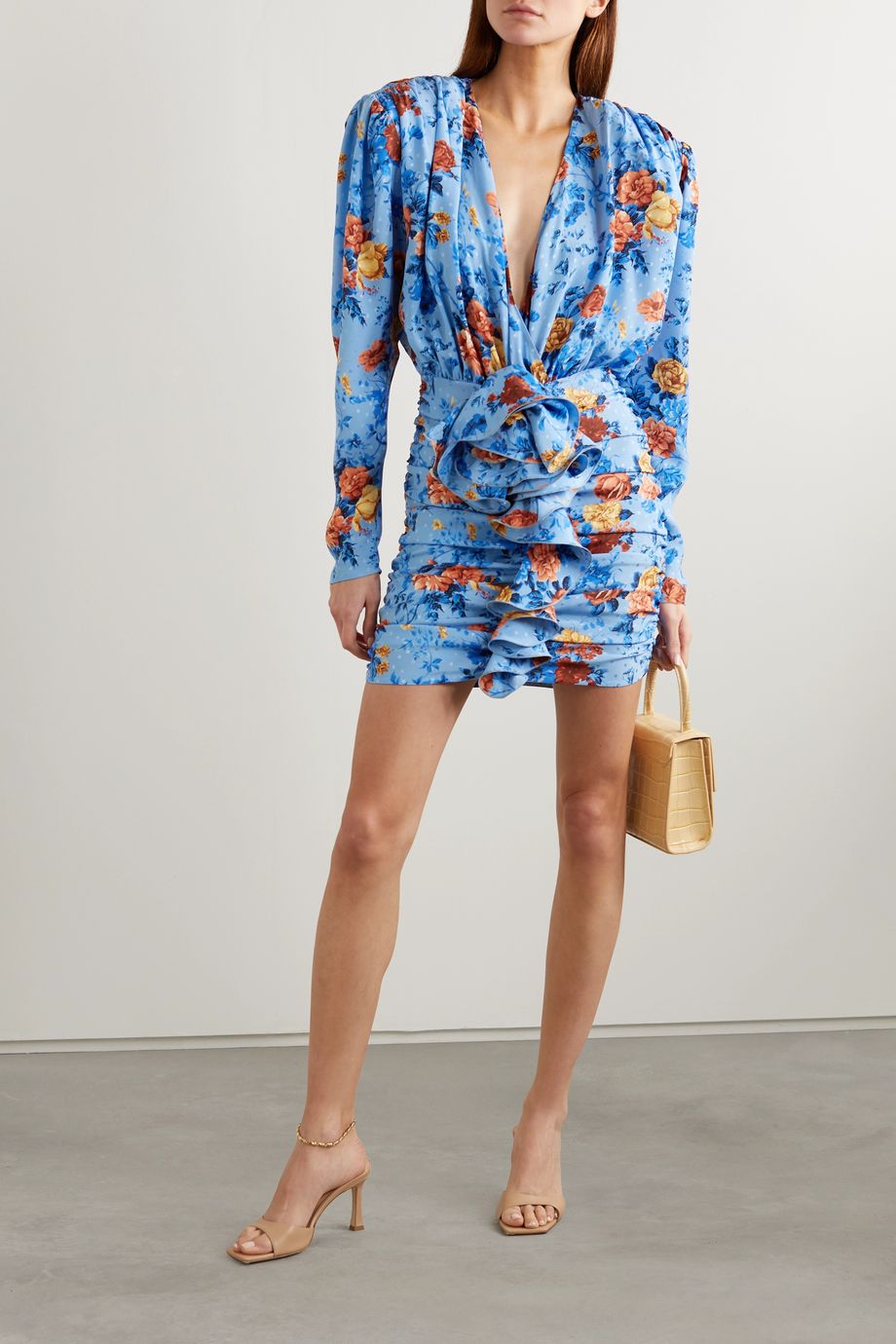 Magda Butrym Burgos ruffled floral-print silk-satin mini dress