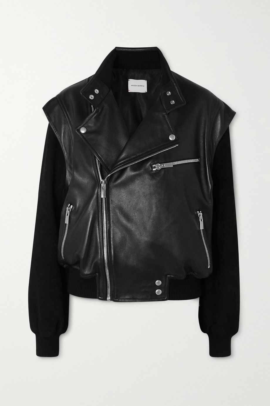 Magda Butrym Agness leather and suede biker jacket