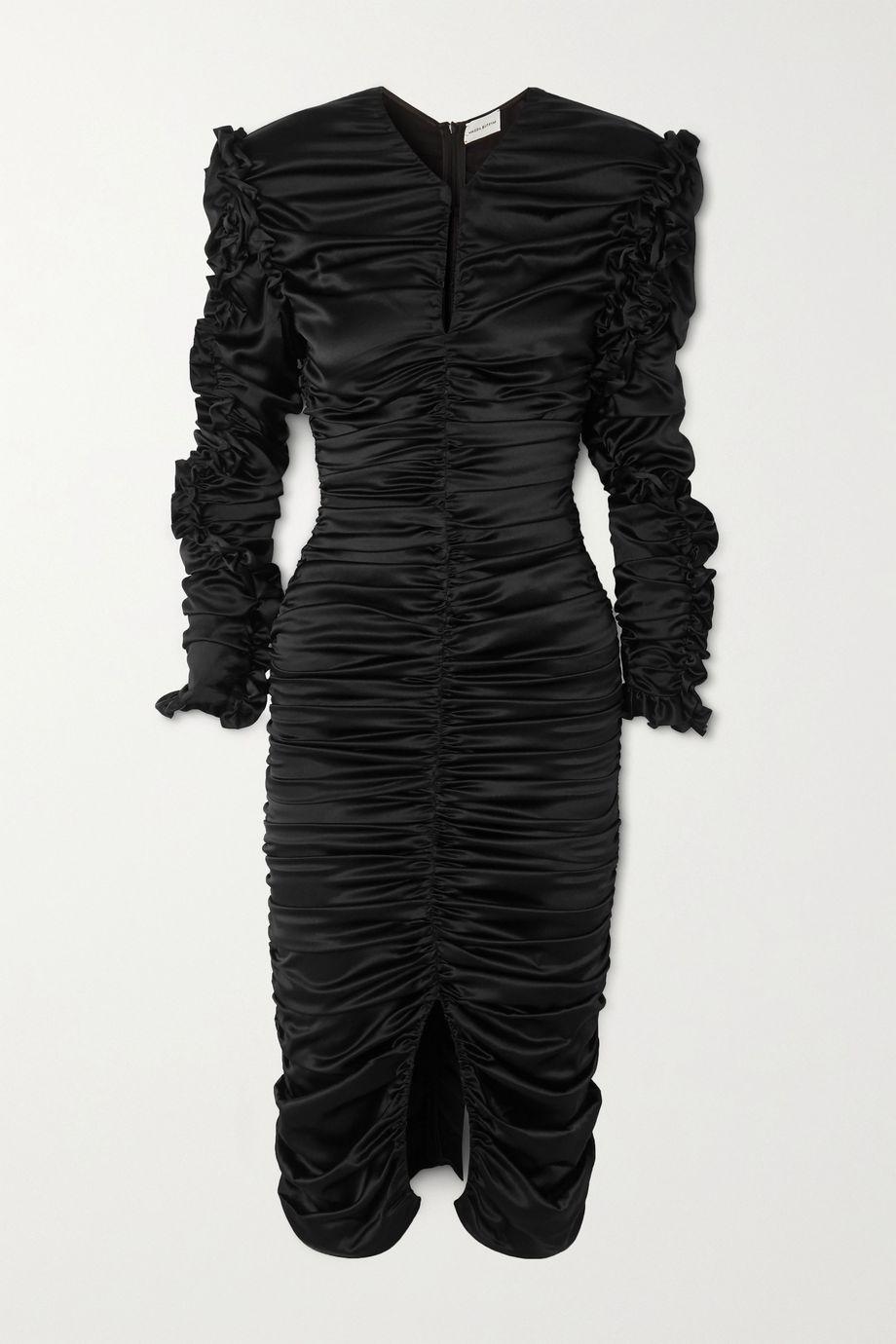 Magda Butrym Pula 挖剪褶饰真丝混纺缎布中长连衣裙