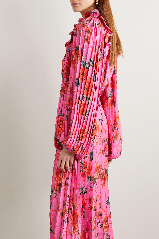 Magda Butrym Dover pleated floral-print silk-satin jacquard midi dress