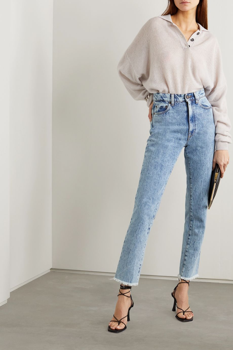 Magda Butrym Evansville cropped acid-wash high-rise straight-leg jeans