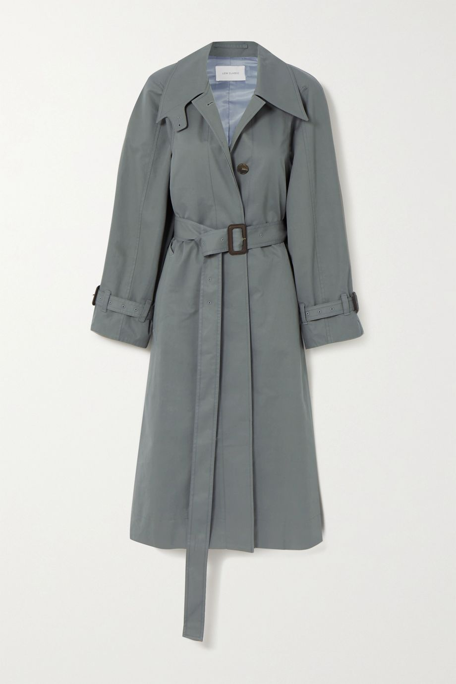 LOW CLASSIC Belted leather-trimmed cotton-twill trench coat