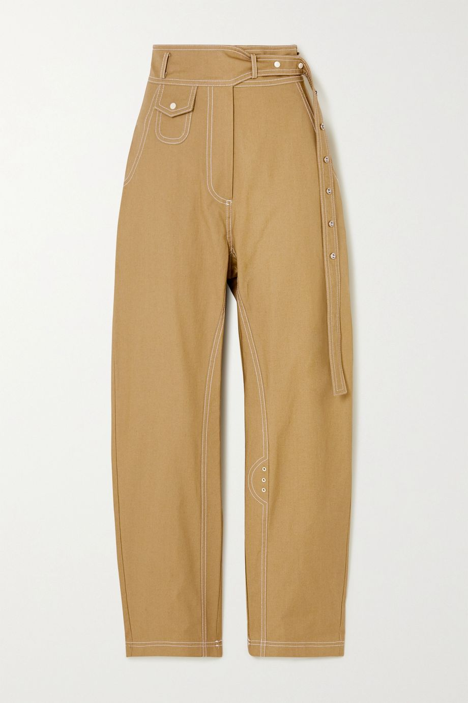 LOW CLASSIC Topstitched cotton tapered pants