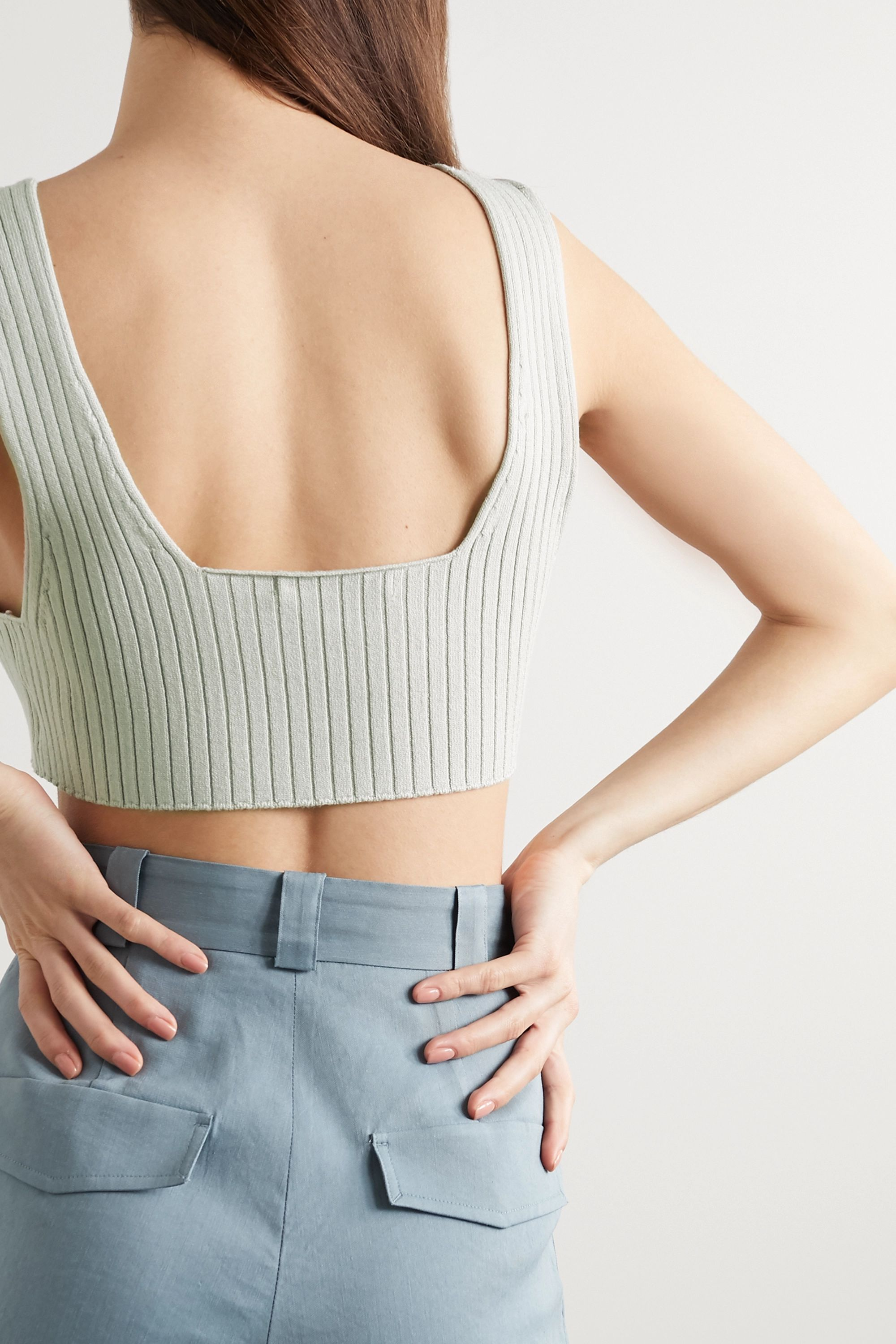 LOW CLASSIC Cropped ribbed-knit top