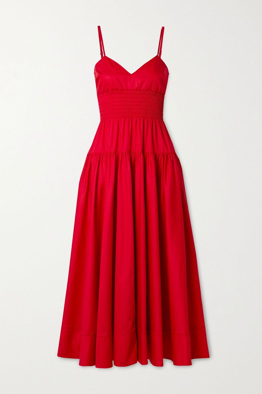 La Ligne Smocked cotton-poplin midi dress