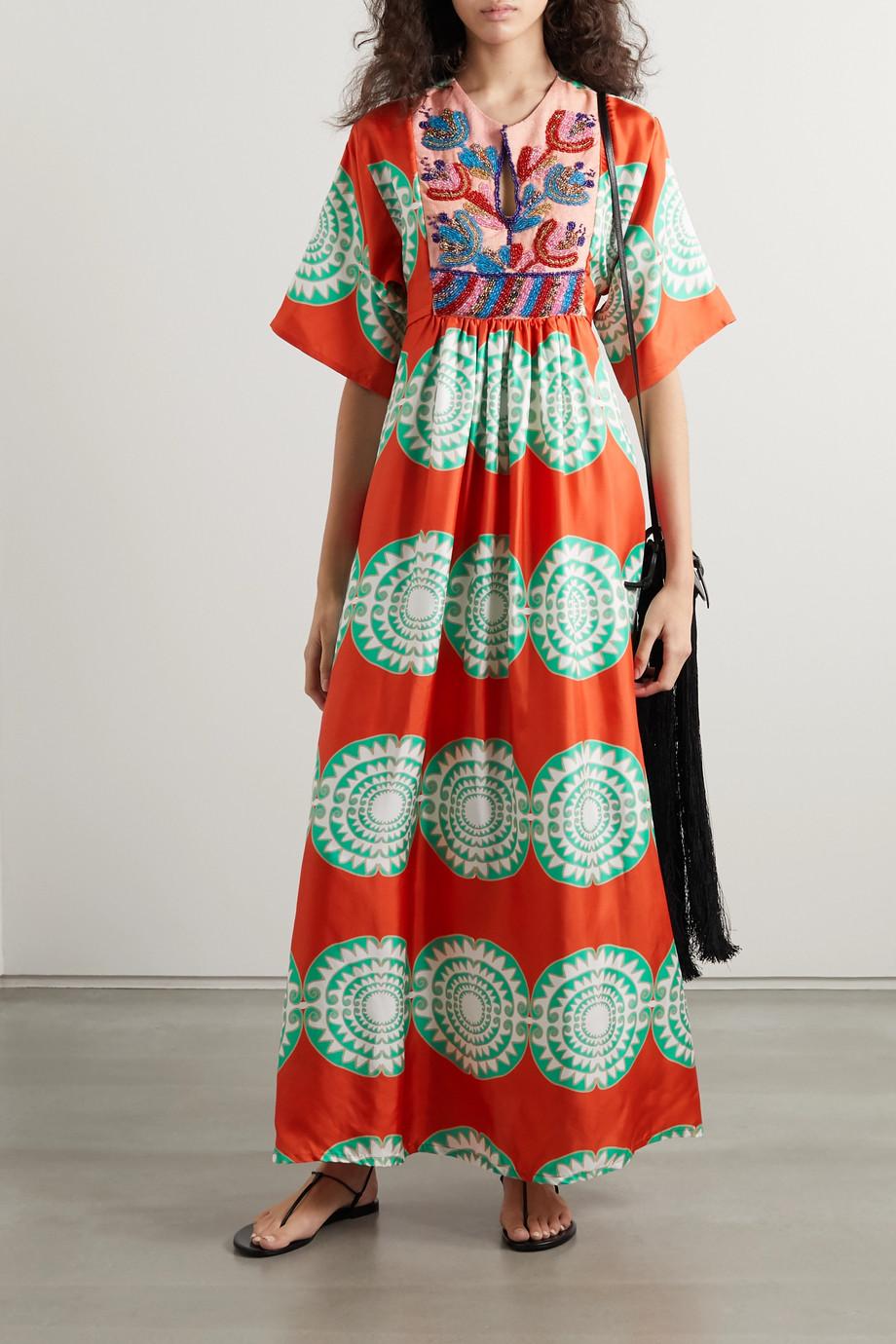 RIANNA + NINA Celia bead-embellished printed silk and piqué maxi dress