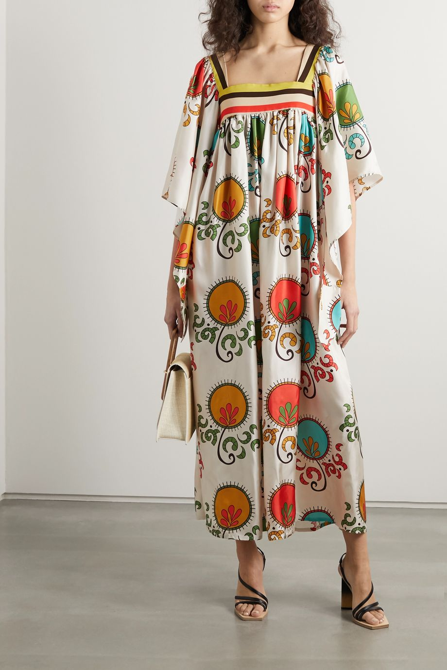 RIANNA + NINA Loukoumi pleated printed silk-twill maxi dress
