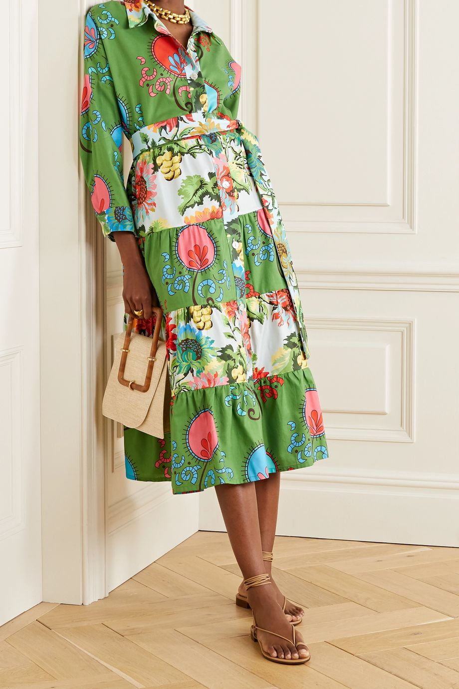 RIANNA + NINA Volant tiered printed cotton-poplin midi shirt dress