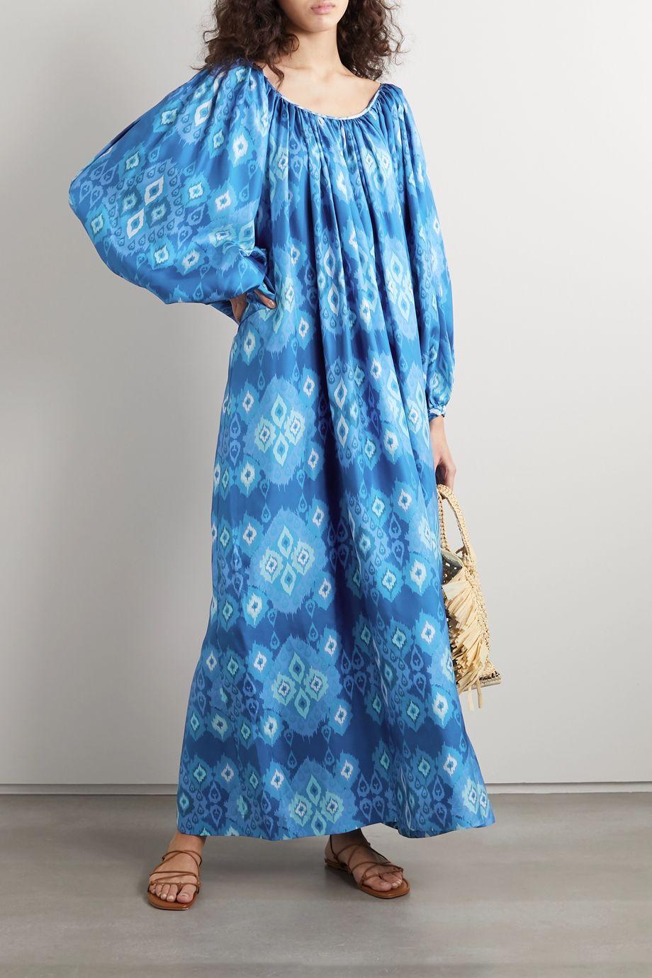 RIANNA + NINA Reggina pleated printed silk-twill maxi dress