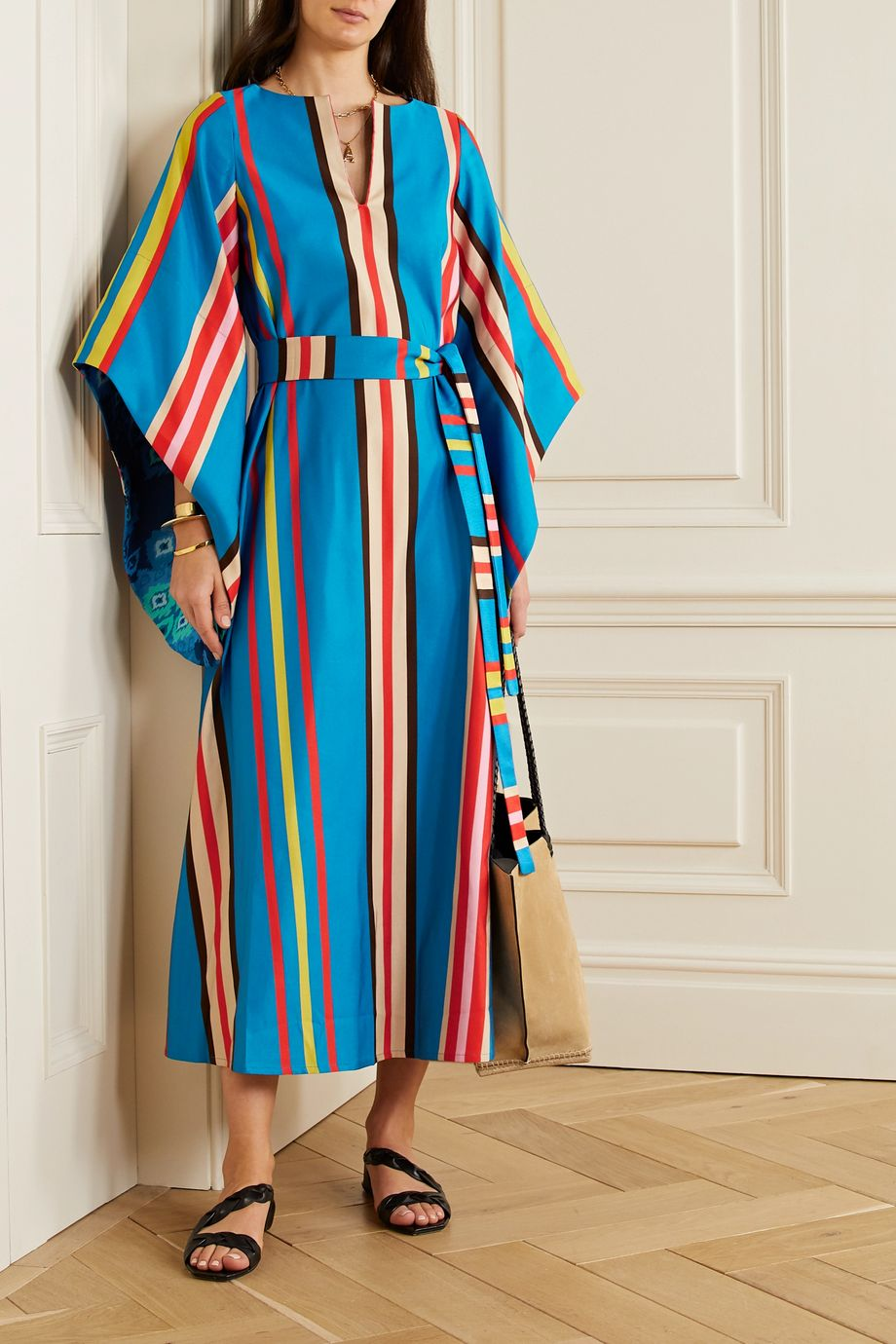 RIANNA + NINA Amaryllis belted striped cotton-blend faille maxi dress