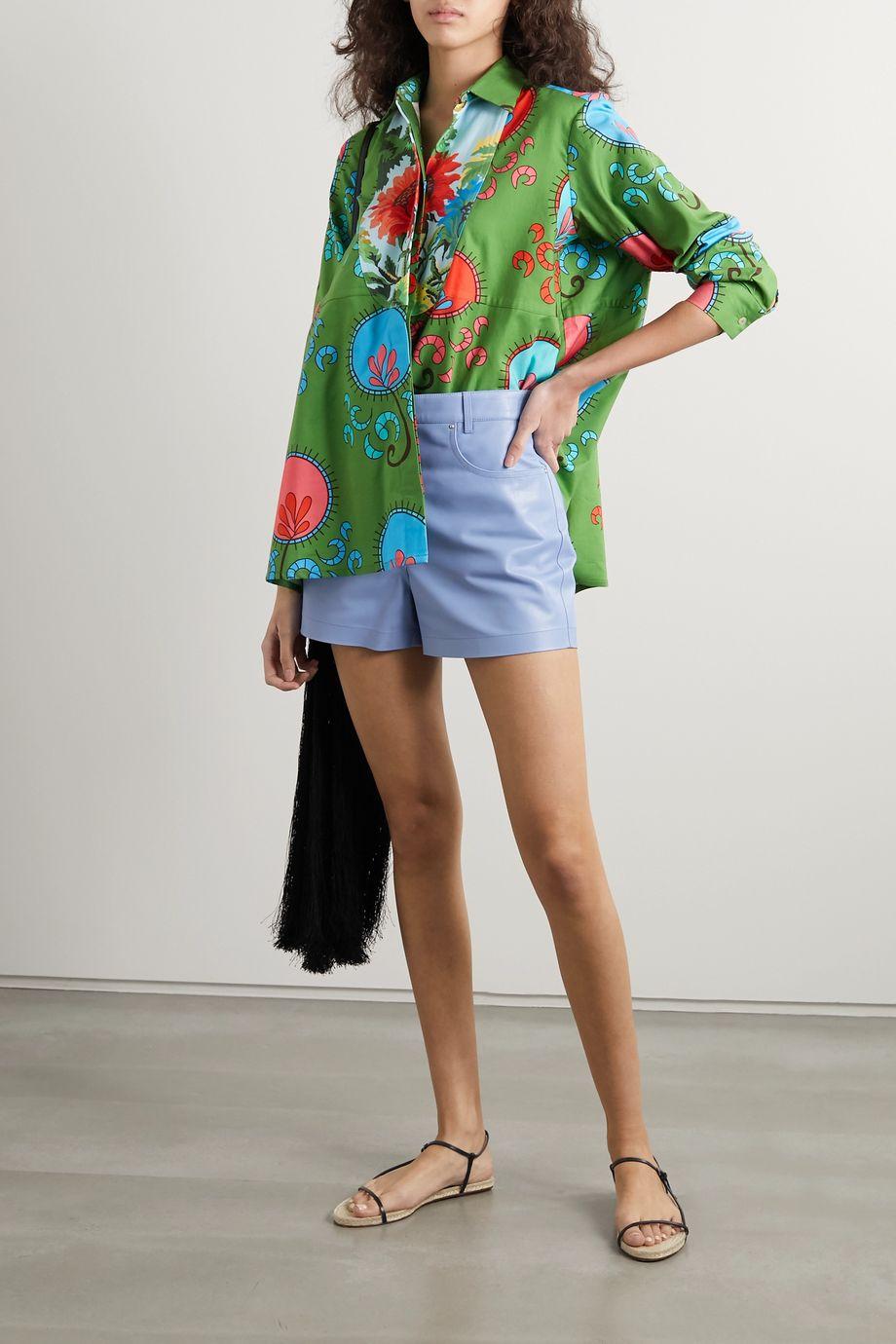 RIANNA + NINA Andrea printed cotton-poplin and piqué blouse
