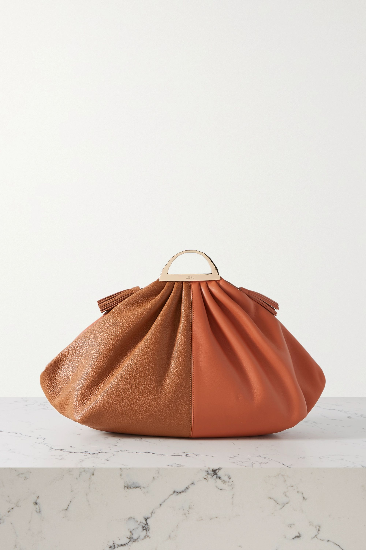THE VOLON Gabi large two-tone leather clutch