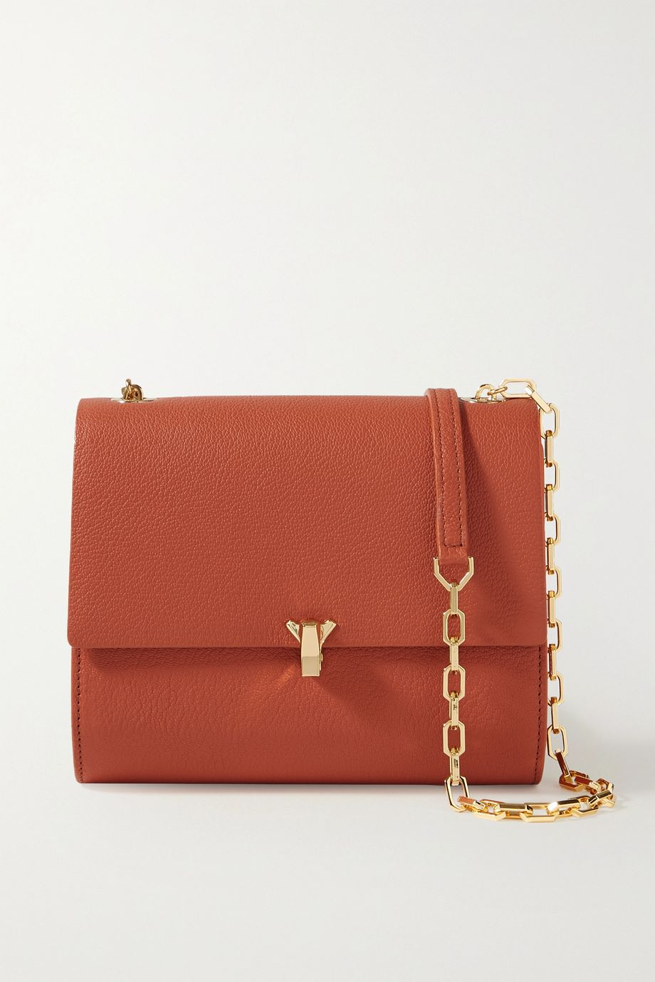 THE VOLON Po Moon textured-leather shoulder bag