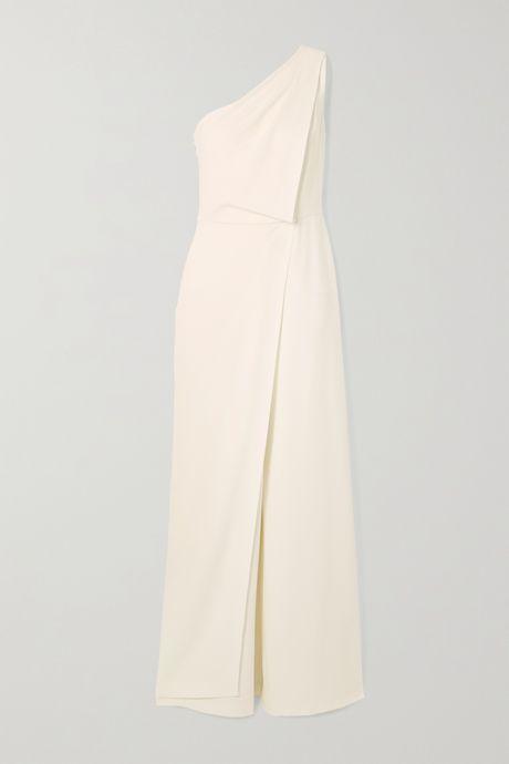 White One-shoulder draped crepe jumpsuit    Halston rrgpXN