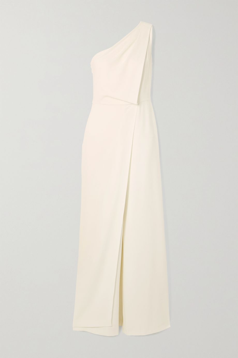 Halston One-shoulder draped crepe jumpsuit