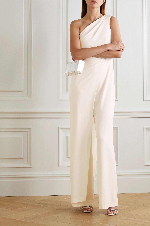 Halston Combi-pantalon asymétrique en crêpe à drapés
