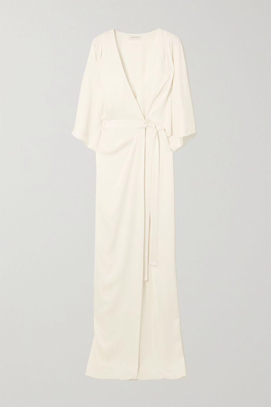 Halston Draped satin wrap gown