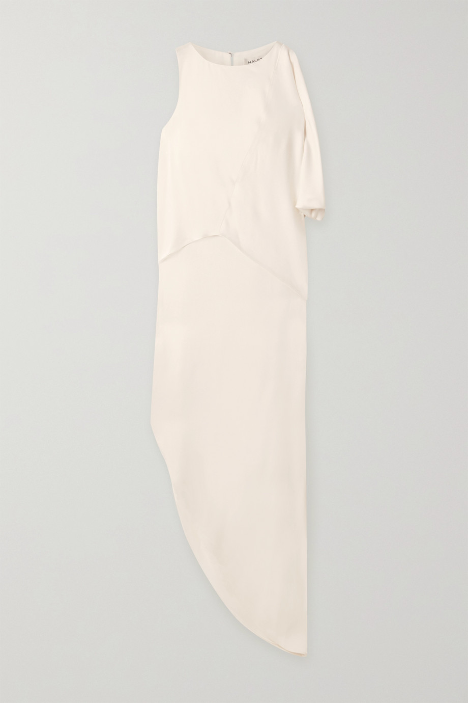 Halston Asymmetric draped crepe maxi dress