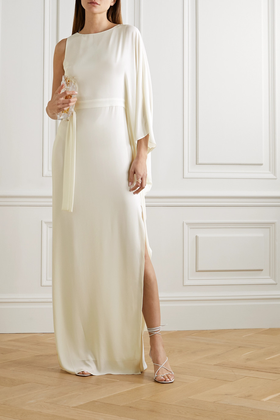 Halston One-shoulder asymmetric crepe gown