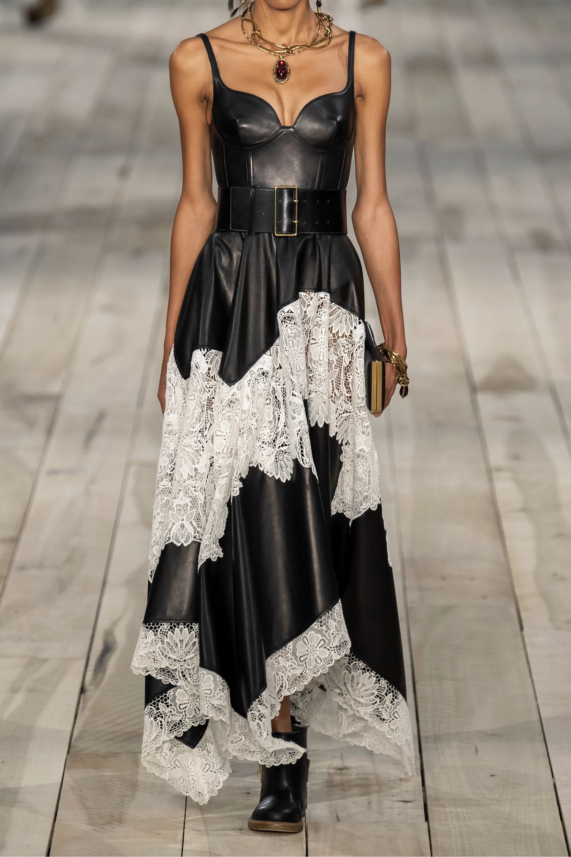 Alexander McQueen Leather and cotton-blend guipure lace gown