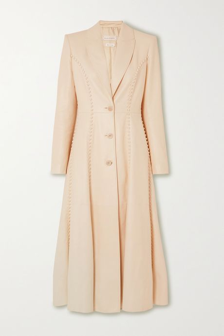 Cream Whipstitched leather coat | Alexander McQueen VjFt9K