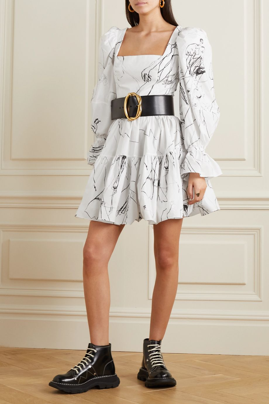Alexander McQueen Tiered printed cotton mini dress