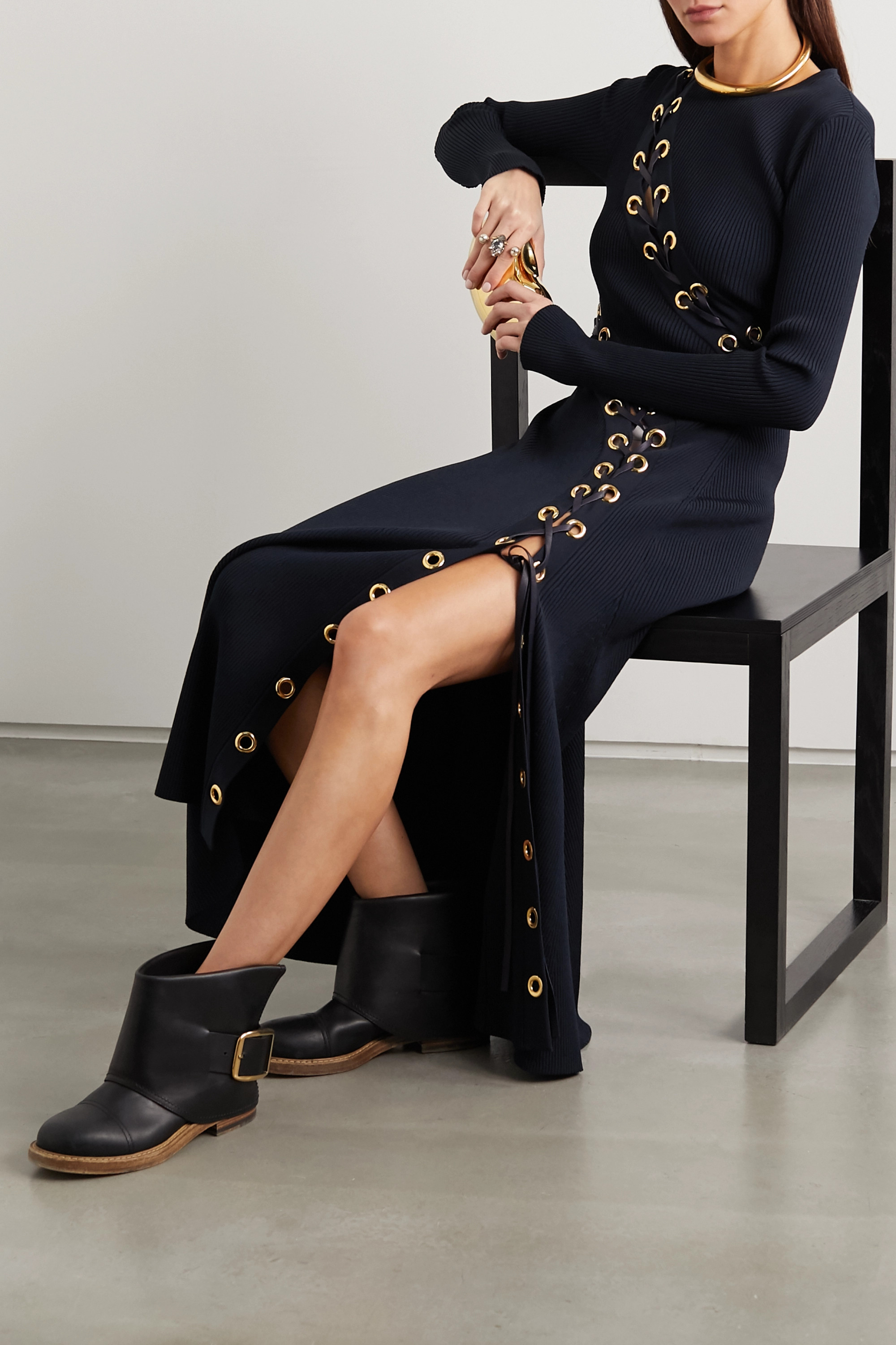 Alexander McQueen Lace-up leather-trimmed ribbed-knit midi dress